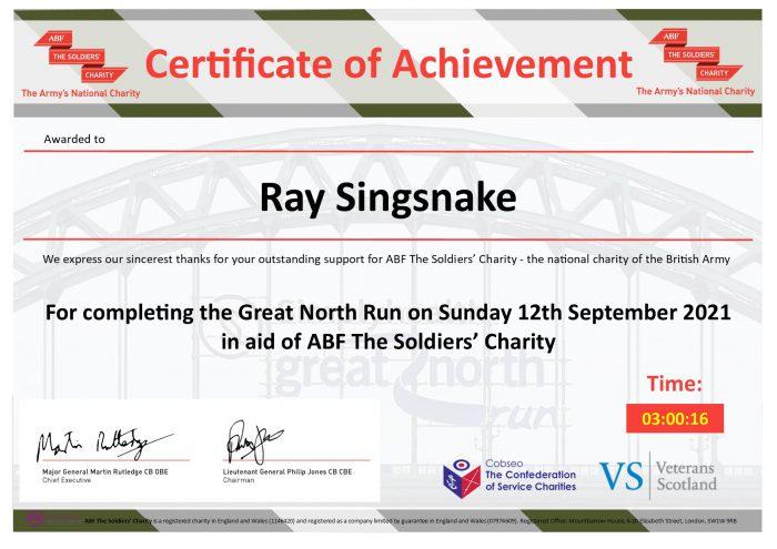 GNR Certificate of Achievement